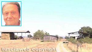 Tuscania - Assassinato 83enne - L'appezzamento di terreno e il capannone - Nel riquadro: Angelo Gianlorenzo