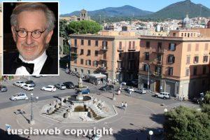 Una veduta di Viterbo e nel riquadro Steven Spielberg
