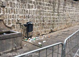 Viterbo - Spazzatura fuori dai cestini a San Pellegrino