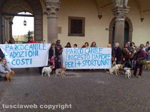 La protesta in piazza del Comune per il Parco canile