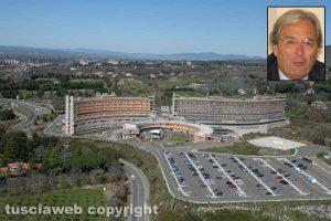 Viterbo - L'ospedale di Belcolle - Nel riquadro il presidente dell'ordine dei medici Antonio Maria Lanzetti