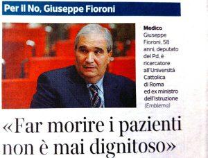 Giuseppe Fioroni - Biotestamento - L'intervista al Corriere della Sera