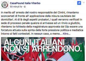 Aggressione a Vignanello - Il post comparso sulla pagina Facebook 'Casapound Italia - Viterbo' dopo l'arresto del responsabile di Casapound Cimini Jacopo Polidori