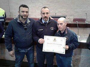 Volontari Aeopc Tarquinia e Valentino Arillo, coordinatore di Civitavecchia