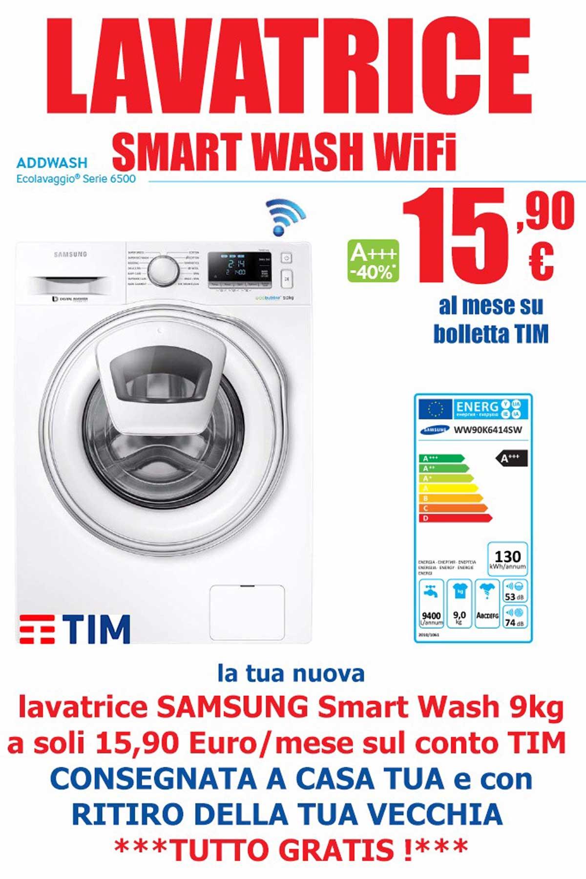 Lavatrice samsung smart wash wifi a 15 90 al mese sul for Lavatrice wifi