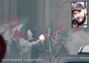 Vallerano - La manifestazione di Casapound contro la violenza e nel riquadro Jacopo Polidori