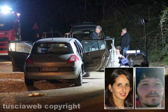 Orte - L'auto del femminicidio - suicidio e nei riquadri Silvia Tabacchi e Francesco Marigliani