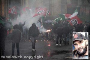 Vallerano - La manifestazione di Casapound contro la violenza - Nel riquadro Jacopo Polidori