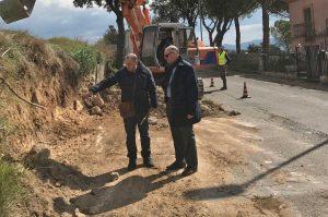 Tarquinia - Mauro Mazzola al cantiere sulla provicniale Monterozzi