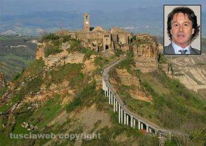 Civita di Bagnoregio - Nel riquadro il sindaco Francesco Bigiotti
