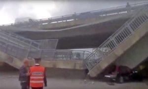 Cuneo - Ponte crollato su auto dei carabinieri