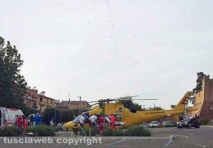 Tuscania - Donna morsa da una vipera - L'intervento dell'elisoccorso