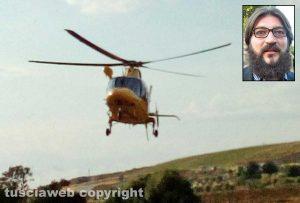 L'elisoccorso del 118 - Nel riquadro: Davide Postè