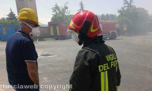 Viterbo - Incendio all'impianto di Casale Bussi - Il sopralluogo del sindaco Michelini e del presidente Mazzola