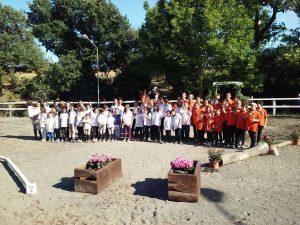 I partecipanti del campionato di Gimkana tecnica al centro Ippico San Filippo