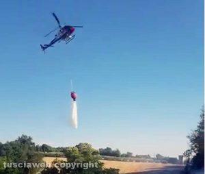 Incendio - Bosco e sterpaglie in fiamme - Intervento con l'elicottero