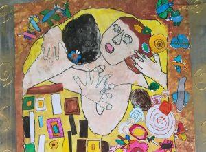 Ronciglione - Il bacio di Klimt riprodotto da alcuni alunni della scuola dell'infanzia