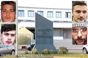 Viterbo - Tribunale - Nei riquadri: Davide Randisi e Raffaele Laureti e Andrea Rossi e Federico Alfonsini