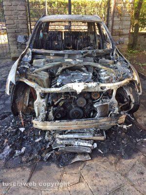 Viterbo - La macchina dell'avvocato Alabiso distrutta dalle fiamme