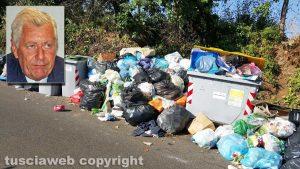 Viterbo - Cumuli di rifiuti all'isola ecologica in strada Fagiano - Nel riquadro il sindaco Michelini