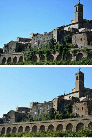 Vetralla - Via del Cimitero vecchio prima e dopo gli interventi