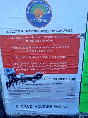 Bolsena - Manifesti opposizione strappati