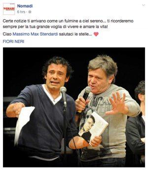 Il post dei Nomadi sulla morte di Massimo Stendardi