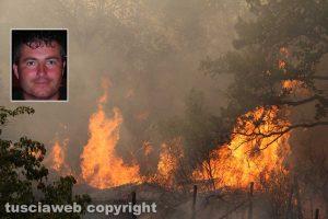 Un incendio, nel riquadro: Danilo Camilli