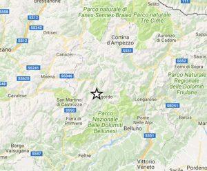 Scossa di terremoto nel Bellunese