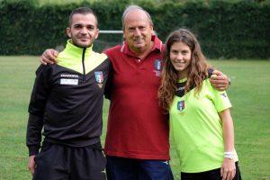 Sport - Calcio - Il presidente dell'Aia Viterbo Gasbarri con due giovani associati