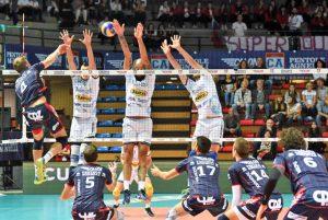 Un momento del match del Tuscania volley contro Bergamo