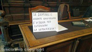 Viterbo - Consiglio comunale - De Dominici assente