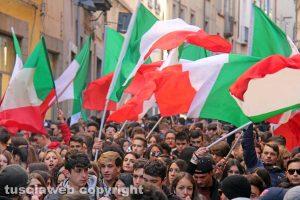 La manifestazione degli studenti