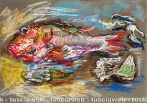Pesce e ostriche 1995 - Una delle opere di Rudolf Kortokraks rubate a Tuscania