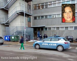 Viterbo - La polizia sul luogo della tragedia - Nel riquadro: Laura Chiovelli