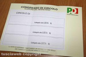 La scheda elettorale utilizzata all'ultimo congresso del Pd