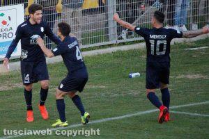 Sport - Calcio - Viterbese - L'esultanza di Baldassin