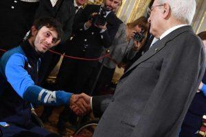 Roma - Sergio Mattarella stringe la mano a Marco Cima