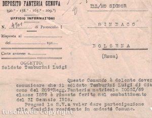 Grande guerra - Un secolo fa il ferimento del soldato Luigi Tamburini