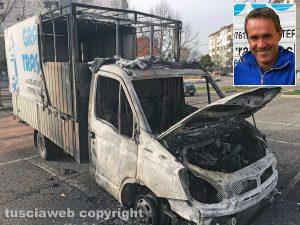 Viterbo - Esplosioni a Santa Barbara - Il camion della Graziani Traslochi incendiato - Nel riquadro: Roberto Grazini