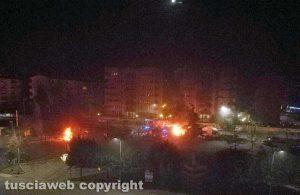 Viterbo - Santa Barbara due autocarri in fiamme
