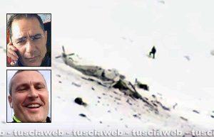 L'elicottero precipitato a Campo Felice - Nei riquadri: l'indagato Alfonso Friolo (in alto) e la vittima Ettore Palanca