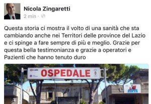 Il post di Nicola Zingaretti sulla sua pagina Facebook
