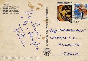 Cartolina di Fabrizio De André al colonnello Vincenzo Rosati