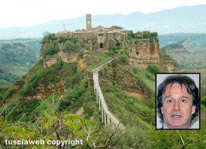Civita di Bagnoregio - Nel riquadro: Francesco Bigiotti