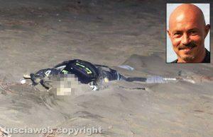 Sabaudia - Lo scheletro ritrovato sulla spiaggia - Nel riquadro Virginio Nottola