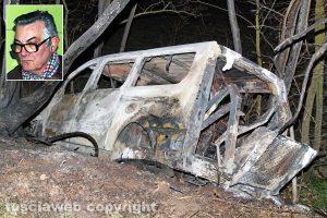Viterbo - Pulmino in fiamme sulla Tuscanese - Nel riquadro: Lucio Bastiani