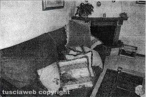 Delitto di Santa Lucia - Il salone dei coniugi Fieno, con il cuscino sporco di sangue usato per soffocare Rosa Franceschini