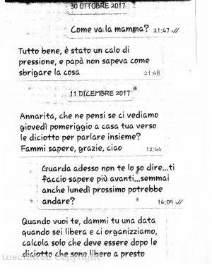 Delitto di Santa Lucia - I messaggi tra Ermanno Fieno e la sorella Anna Rita del 30 ottobre e 11 dicembre 2017