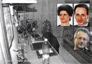 Delitto di Santa Lucia - La camera di Ermanno Fieno - Nei riquadri, dall'alto: Rosa Franceschini, Gianfranco ed Ermanno Fieno